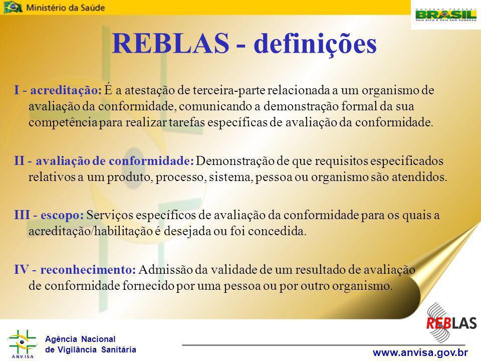 Agência Nacional de Vigilância Sanitária www.anvisa.gov.br REBLAS - definições I - acreditação: É a atestação de terceira-parte relacionada a um organismo de avaliação da conformidade, comunicando a demonstração formal da sua competência para realizar tarefas específicas de avaliação da conformidade.