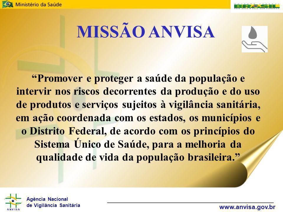 """Agência Nacional de Vigilância Sanitária www.anvisa.gov.br """"Promover e proteger a saúde da população e intervir nos riscos decorrentes da produção e d"""