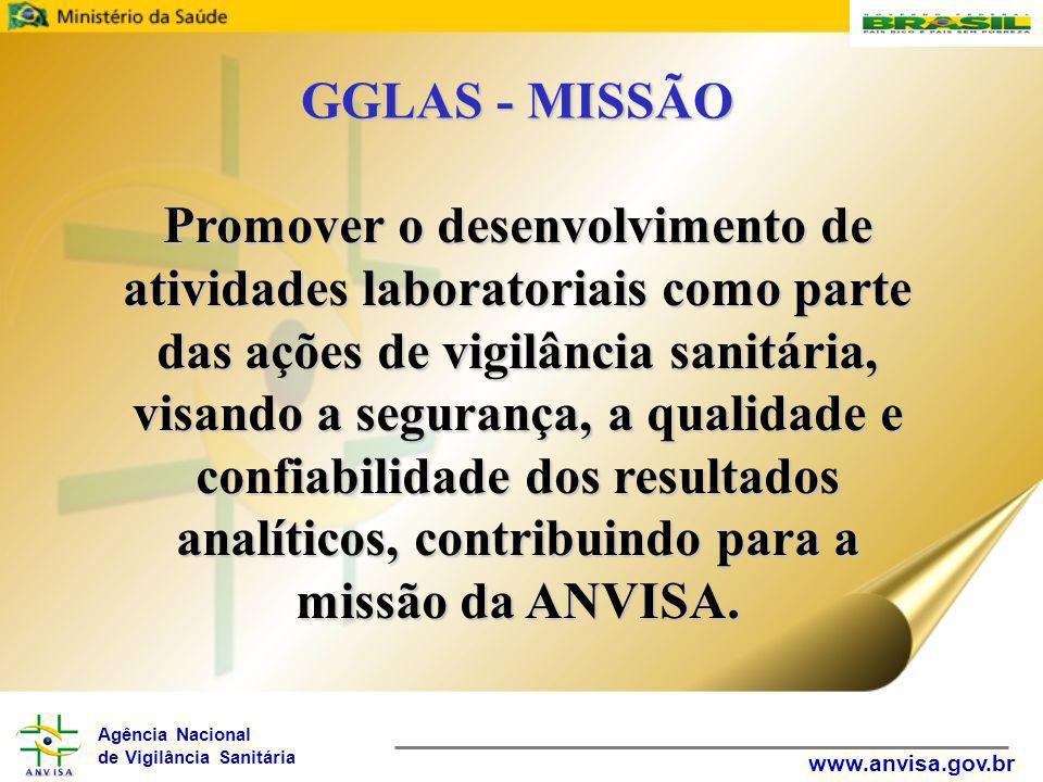 Agência Nacional de Vigilância Sanitária www.anvisa.gov.br GGLAS - MISSÃO Promover o desenvolvimento de atividades laboratoriais como parte das ações