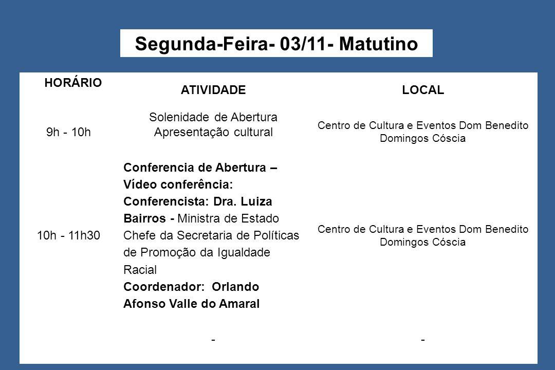 HOHORÁRIOÁ RIO ATIVIDADELOCAL 9h - 10h Solenidade de Abertura Apresentação cultural Centro de Cultura e Eventos Dom Benedito Domingos Cóscia 10h - 11h30 Conferencia de Abertura – Vídeo conferência: Conferencista: Dra.