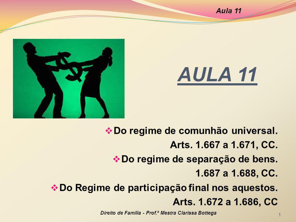 AULA 11  Do regime de comunhão universal. Arts. 1.667 a 1.671, CC.  Do regime de separação de bens. 1.687 a 1.688, CC.  Do Regime de participação f