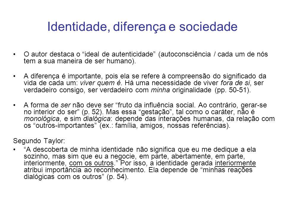 """Identidade, diferença e sociedade O autor destaca o """"ideal de autenticidade"""" (autoconsciência / cada um de nós tem a sua maneira de ser humano). A dif"""