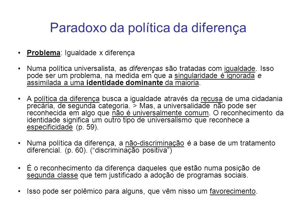 Paradoxo da política da diferença Problema: Igualdade x diferença Numa política universalista, as diferenças são tratadas com igualdade. Isso pode ser