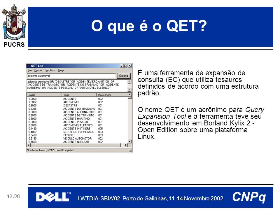 PUCRS I WTDIA-SBIA'02. Porto de Galinhas, 11-14 Novembro 2002 CNPq 12 /28 O que é o QET.