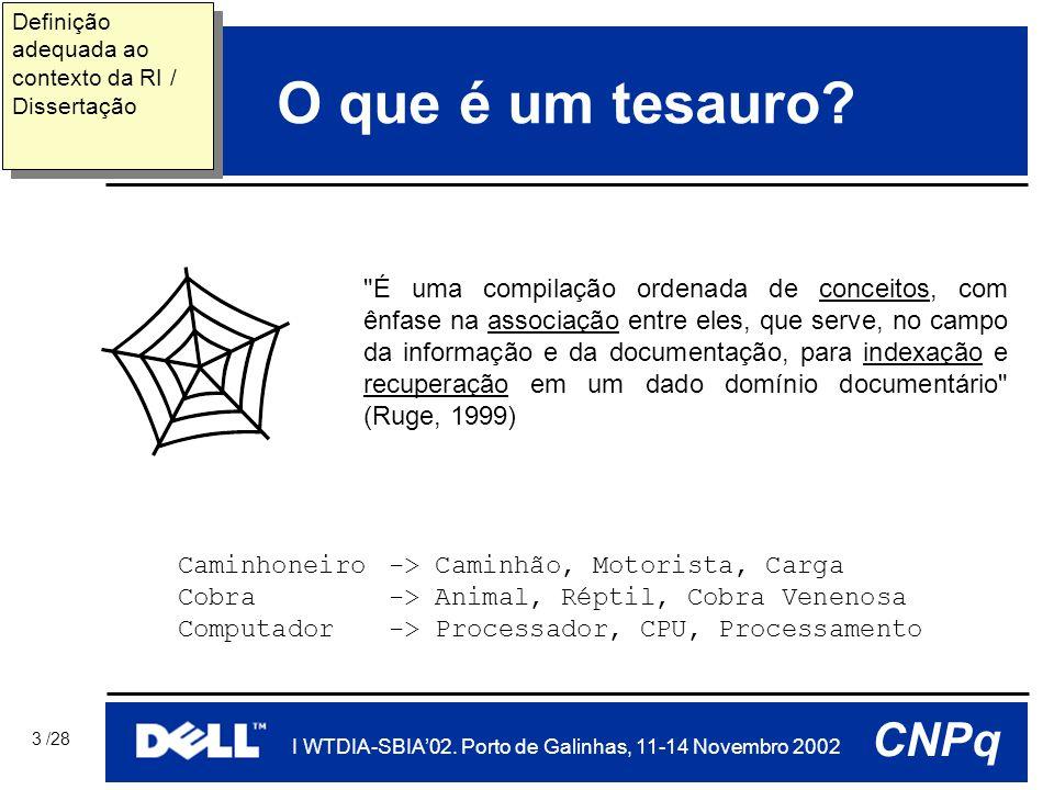 PUCRS I WTDIA-SBIA'02. Porto de Galinhas, 11-14 Novembro 2002 CNPq 3 /28 O que é um tesauro.