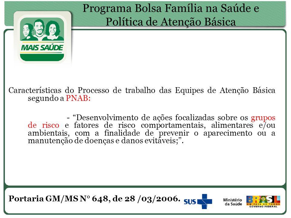 """Programa Bolsa Família na Saúde e Política de Atenção Básica Características do Processo de trabalho das Equipes de Atenção Básica segundo a PNAB: - """""""
