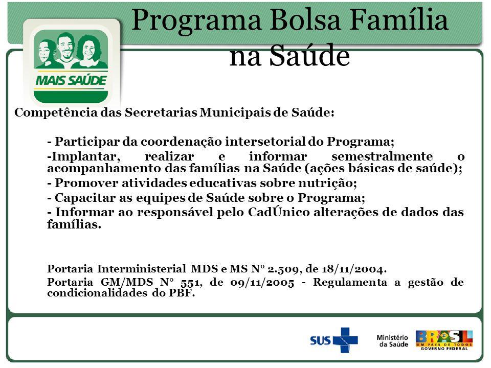 Programa Bolsa Família na Saúde Competência das Secretarias Municipais de Saúde: - Participar da coordenação intersetorial do Programa; -Implantar, re