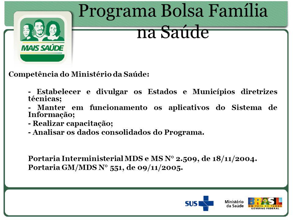 Programa Bolsa Família na Saúde Competência do Ministério da Saúde: - Estabelecer e divulgar os Estados e Municípios diretrizes técnicas; - Manter em