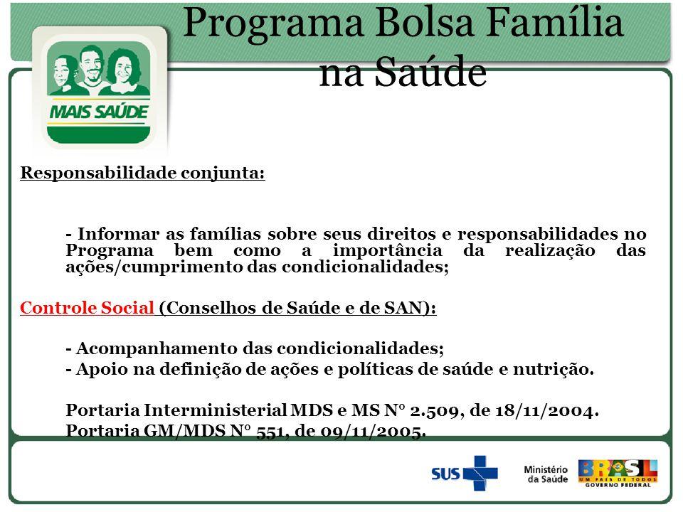 Programa Bolsa Família na Saúde Responsabilidade conjunta: - Informar as famílias sobre seus direitos e responsabilidades no Programa bem como a impor