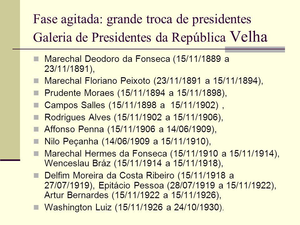 Fase agitada: grande troca de presidentes Galeria de Presidentes da República Velha Marechal Deodoro da Fonseca (15/11/1889 a 23/11/1891), Marechal Floriano Peixoto (23/11/1891 a 15/11/1894), Prudente Moraes (15/11/1894 a 15/11/1898), Campos Salles (15/11/1898 a 15/11/1902), Rodrigues Alves (15/11/1902 a 15/11/1906), Affonso Penna (15/11/1906 a 14/06/1909), Nilo Peçanha (14/06/1909 a 15/11/1910), Marechal Hermes da Fonseca (15/11/1910 a 15/11/1914), Wenceslau Bráz (15/11/1914 a 15/11/1918), Delfim Moreira da Costa Ribeiro (15/11/1918 a 27/07/1919), Epitácio Pessoa (28/07/1919 a 15/11/1922), Artur Bernardes (15/11/1922 a 15/11/1926), Washington Luiz (15/11/1926 a 24/10/1930 ).