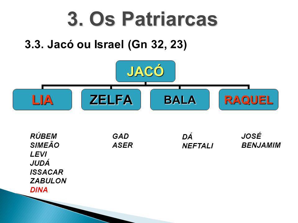 JACÓ LIAZELFABALARAQUEL RÚBEM SIMEÃO LEVI JUDÁ ISSACAR ZABULON DINA DÁ NEFTALI GAD ASER JOSÉ BENJAMIM 3. Os Patriarcas 3.3. Jacó ou Israel (Gn 32, 23)