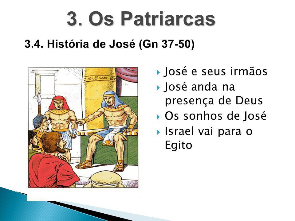  José e seus irmãos  José anda na presença de Deus  Os sonhos de José  Israel vai para o Egito 3. Os Patriarcas 3.4. História de José (Gn 37-50)