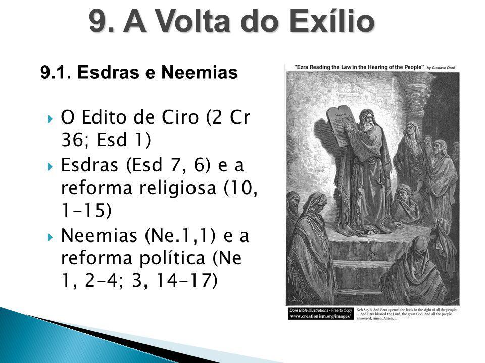  O Edito de Ciro (2 Cr 36; Esd 1)  Esdras (Esd 7, 6) e a reforma religiosa (10, 1-15)  Neemias (Ne.1,1) e a reforma política (Ne 1, 2-4; 3, 14-17)