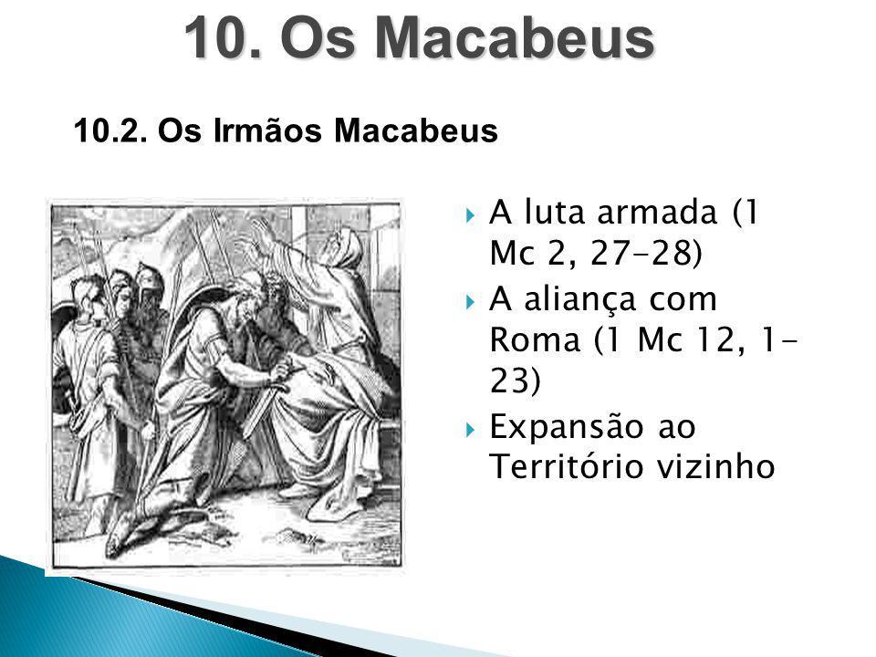  A luta armada (1 Mc 2, 27-28)  A aliança com Roma (1 Mc 12, 1- 23)  Expansão ao Território vizinho 10. Os Macabeus 10.2. Os Irmãos Macabeus