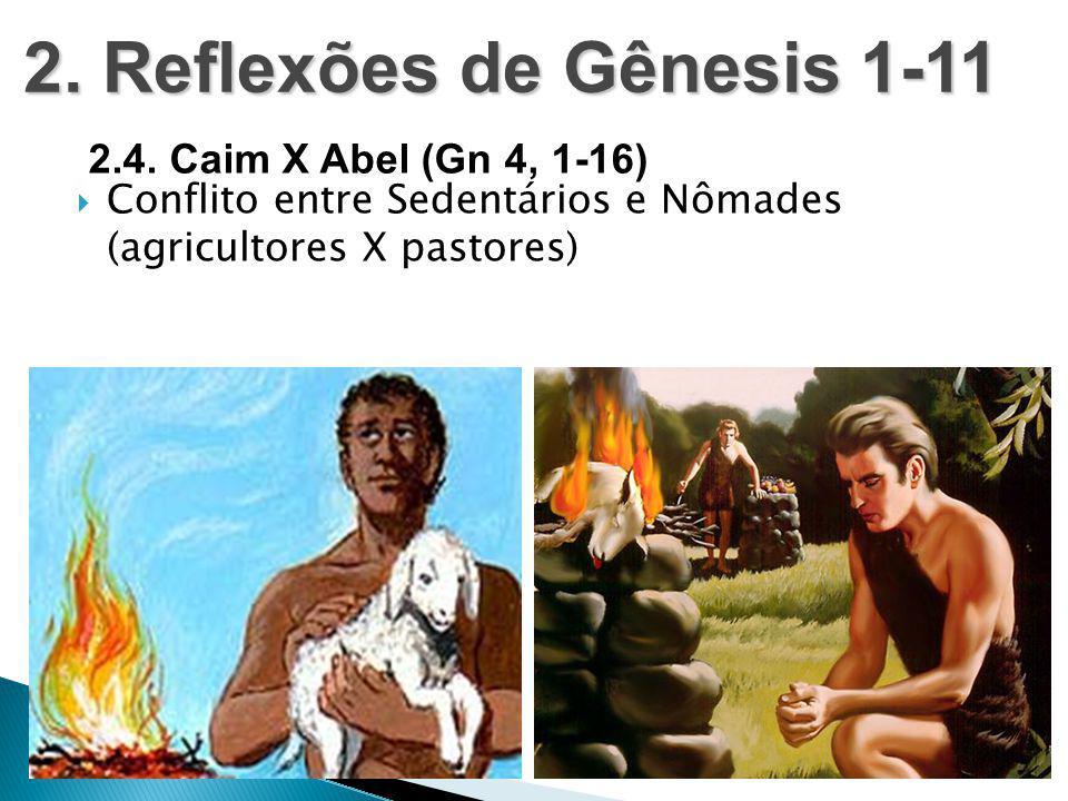  Conflito entre Sedentários e Nômades (agricultores X pastores) 2. Reflexões de Gênesis 1-11 2.4. Caim X Abel (Gn 4, 1-16)
