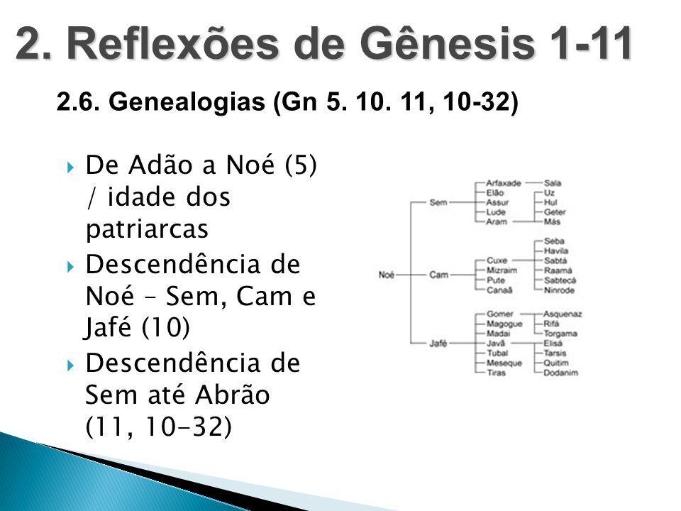  De Adão a Noé (5) / idade dos patriarcas  Descendência de Noé – Sem, Cam e Jafé (10)  Descendência de Sem até Abrão (11, 10-32) 2. Reflexões de Gê