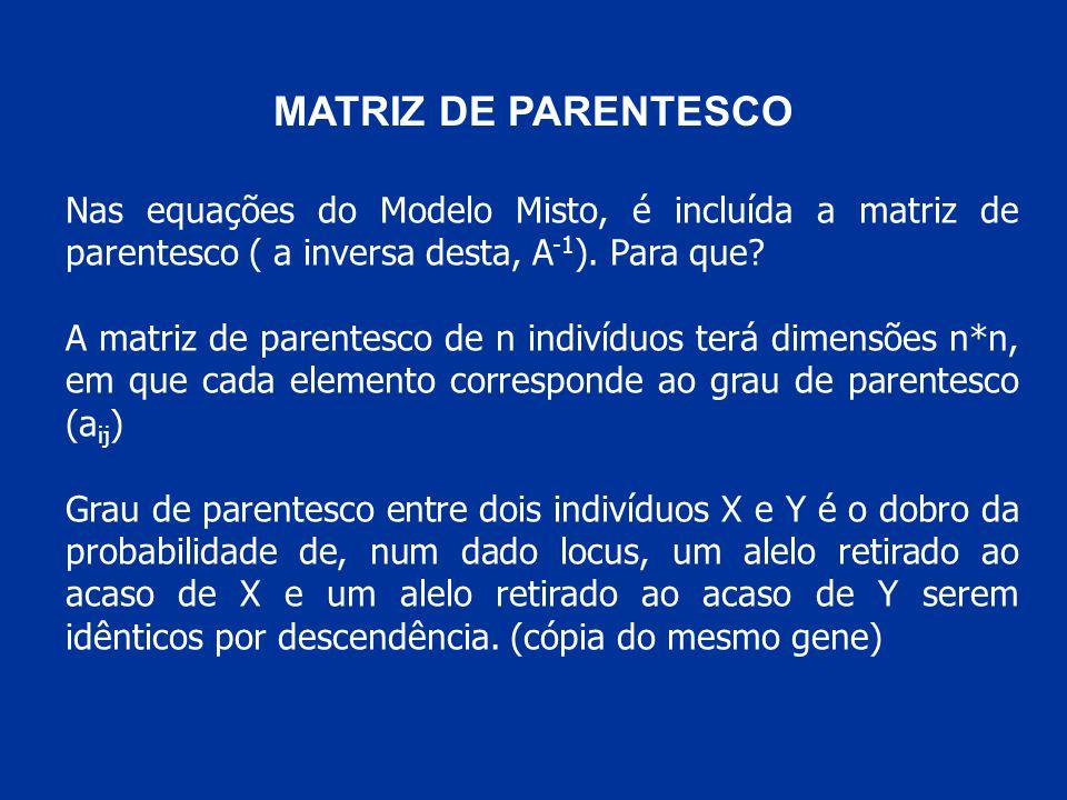 MATRIZ DE PARENTESCO Nas equações do Modelo Misto, é incluída a matriz de parentesco ( a inversa desta, A -1 ).