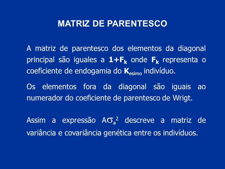 MATRIZ DE PARENTESCO A matriz de parentesco dos elementos da diagonal principal são iguales a 1+F k onde F k representa o coeficiente de endogamia do K esimo indivíduo.