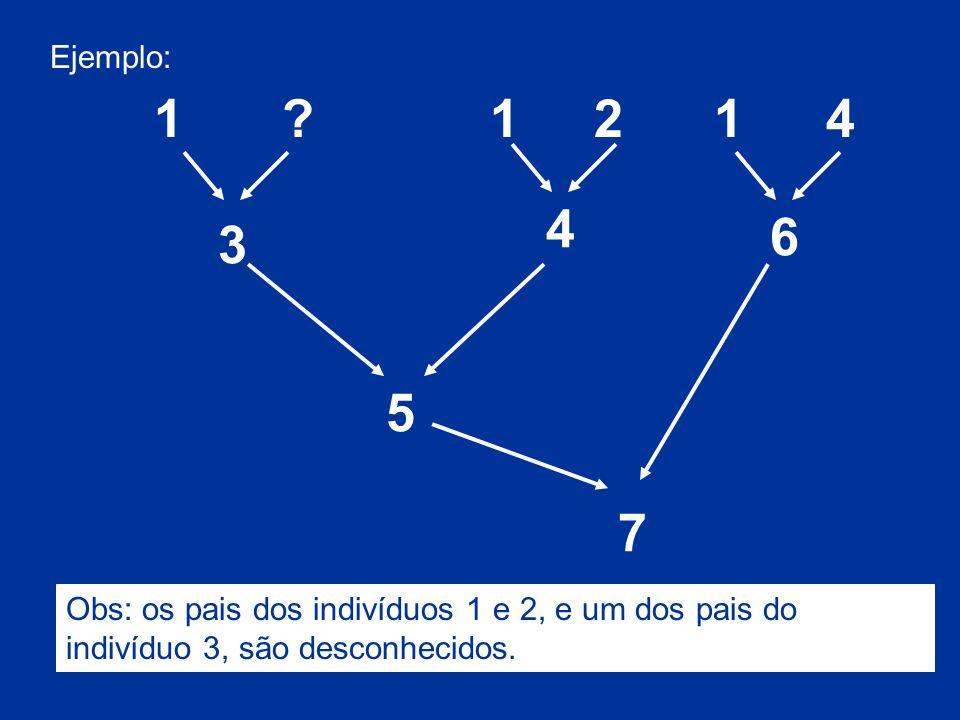 Ejemplo: 5 3 7 4 6 1?1421 Obs: os pais dos indivíduos 1 e 2, e um dos pais do indivíduo 3, são desconhecidos.