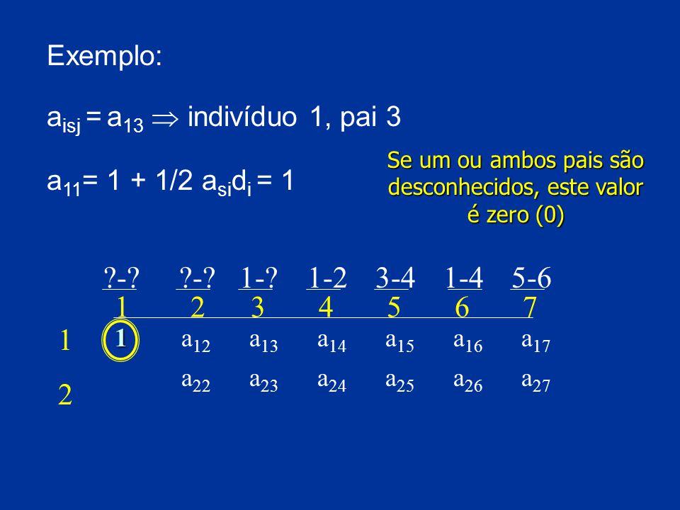 Exemplo: a isj = a 13  indivíduo 1, pai 3 Se um ou ambos pais são desconhecidos, este valor é zero (0) a 11 = 1 + 1/2 a si d i = 1 ?-.