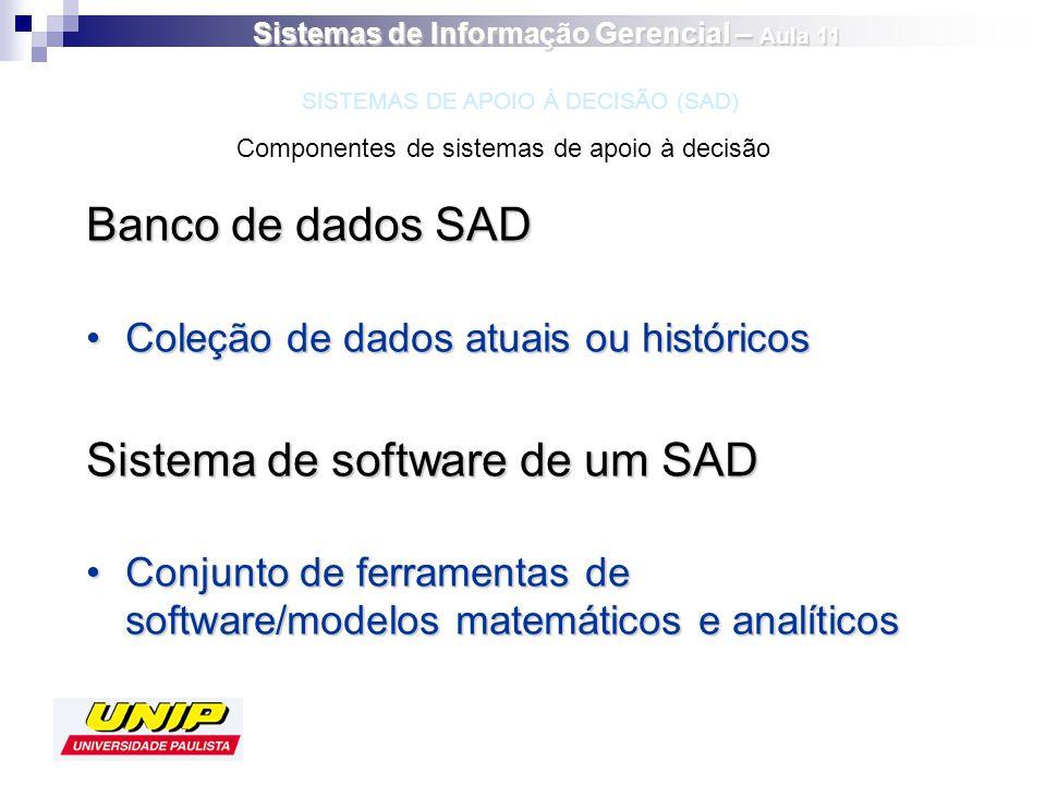 Banco de dados SAD Coleção de dados atuais ou históricosColeção de dados atuais ou históricos Sistema de software de um SAD Conjunto de ferramentas de