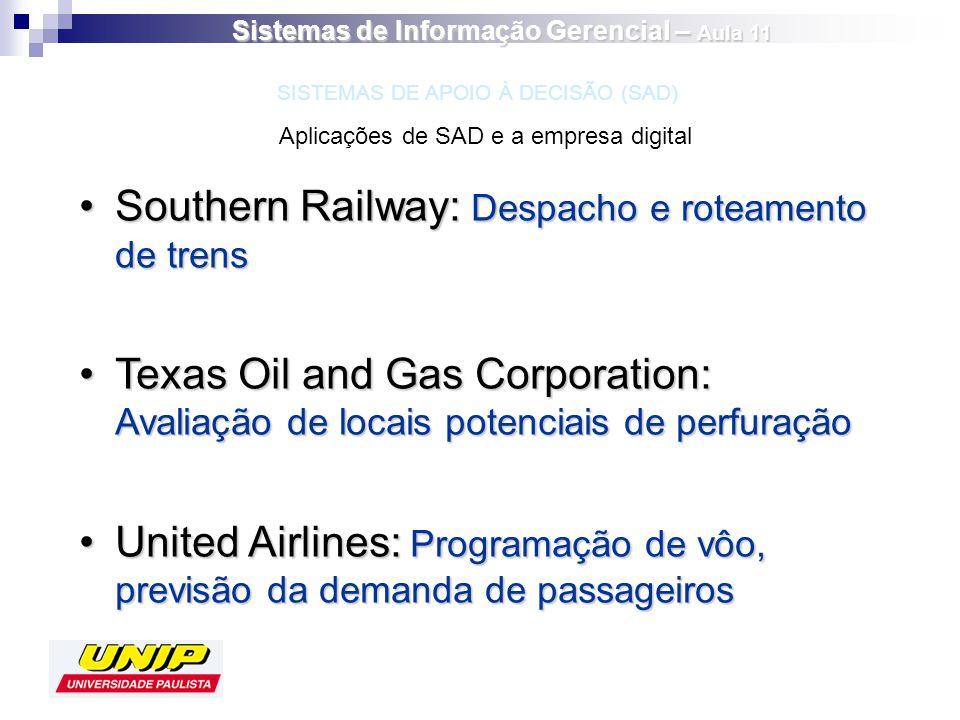 Southern Railway: Despacho e roteamento de trensSouthern Railway: Despacho e roteamento de trens Texas Oil and Gas Corporation: Avaliação de locais po