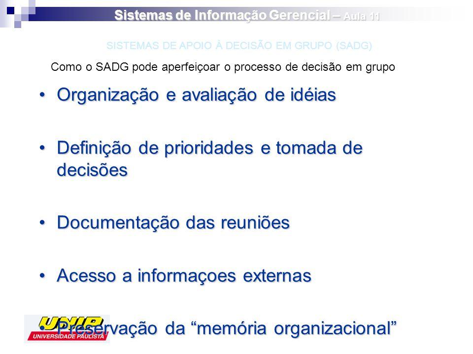 Organização e avaliação de idéiasOrganização e avaliação de idéias Definição de prioridades e tomada de decisõesDefinição de prioridades e tomada de d