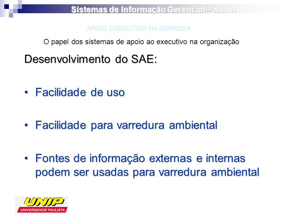 Desenvolvimento do SAE: Facilidade de usoFacilidade de uso Facilidade para varredura ambientalFacilidade para varredura ambiental Fontes de informação