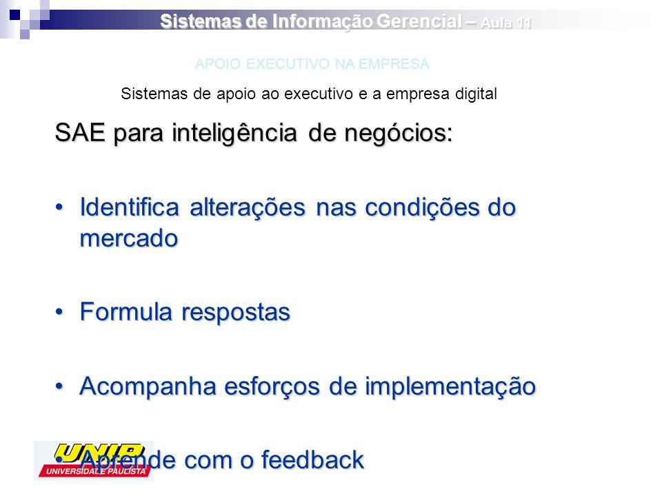 SAE para inteligência de negócios: Identifica alterações nas condições do mercadoIdentifica alterações nas condições do mercado Formula respostasFormu