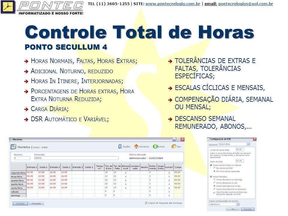 Controle Total de Horas PONTO SECULLUM 4  TOLERÂNCIAS DE EXTRAS E FALTAS, TOLERÂNCIAS ESPECÍFICAS;  ESCALAS CÍCLICAS E MENSAIS,  COMPENSAÇÃO DIÁRIA, SEMANAL OU MENSAL;  DESCANSO SEMANAL REMUNERADO, ABONOS,...