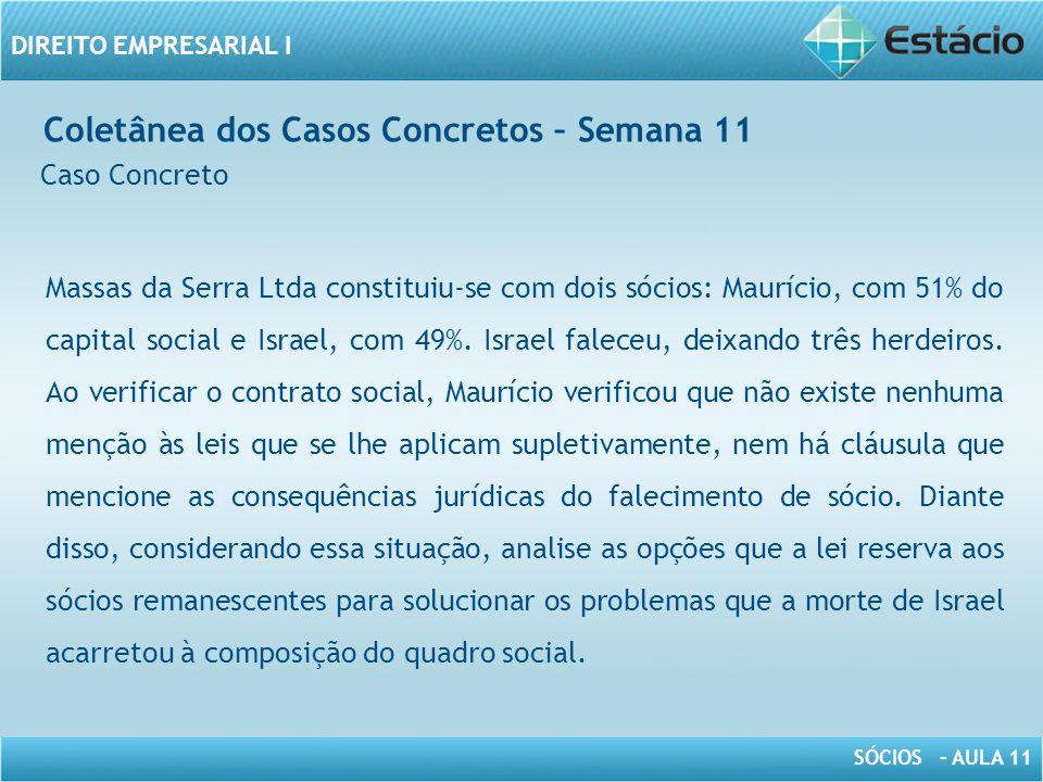 SÓCIOS – AULA 11 DIREITO EMPRESARIAL I Coletânea dos Casos Concretos – Semana 11 Caso Concreto Massas da Serra Ltda constituiu-se com dois sócios: Mau