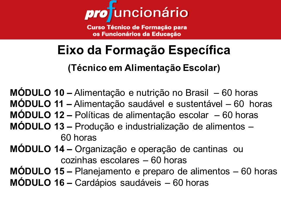 MÓDULO 10 – Alimentação e nutrição no Brasil – 60 horas MÓDULO 11 – Alimentação saudável e sustentável – 60 horas MÓDULO 12 – Políticas de alimentação escolar – 60 horas MÓDULO 13 – Produção e industrialização de alimentos – 60 horas MÓDULO 14 – Organização e operação de cantinas ou cozinhas escolares – 60 horas MÓDULO 15 – Planejamento e preparo de alimentos – 60 horas MÓDULO 16 – Cardápios saudáveis – 60 horas Eixo da Formação Específica (Técnico em Alimentação Escolar)