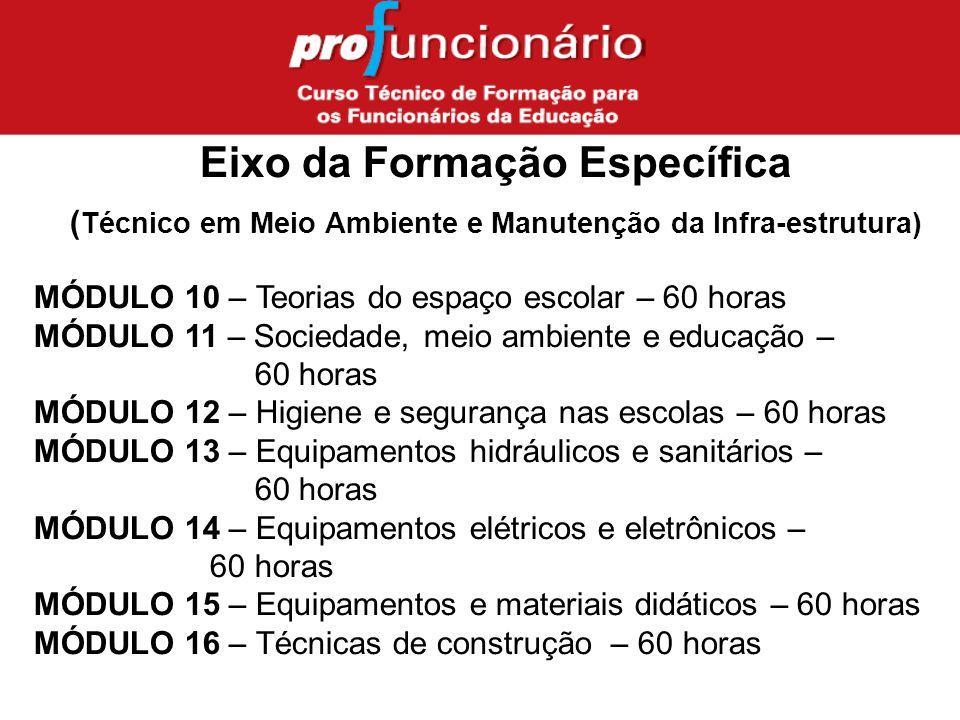 Eixo da Formação Específica ( Técnico em Meio Ambiente e Manutenção da Infra-estrutura) MÓDULO 10 – Teorias do espaço escolar – 60 horas MÓDULO 11 – Sociedade, meio ambiente e educação – 60 horas MÓDULO 12 – Higiene e segurança nas escolas – 60 horas MÓDULO 13 – Equipamentos hidráulicos e sanitários – 60 horas MÓDULO 14 – Equipamentos elétricos e eletrônicos – 60 horas MÓDULO 15 – Equipamentos e materiais didáticos – 60 horas MÓDULO 16 – Técnicas de construção – 60 horas
