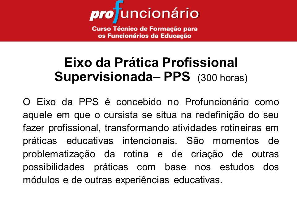O Eixo da PPS é concebido no Profuncionário como aquele em que o cursista se situa na redefinição do seu fazer profissional, transformando atividades rotineiras em práticas educativas intencionais.