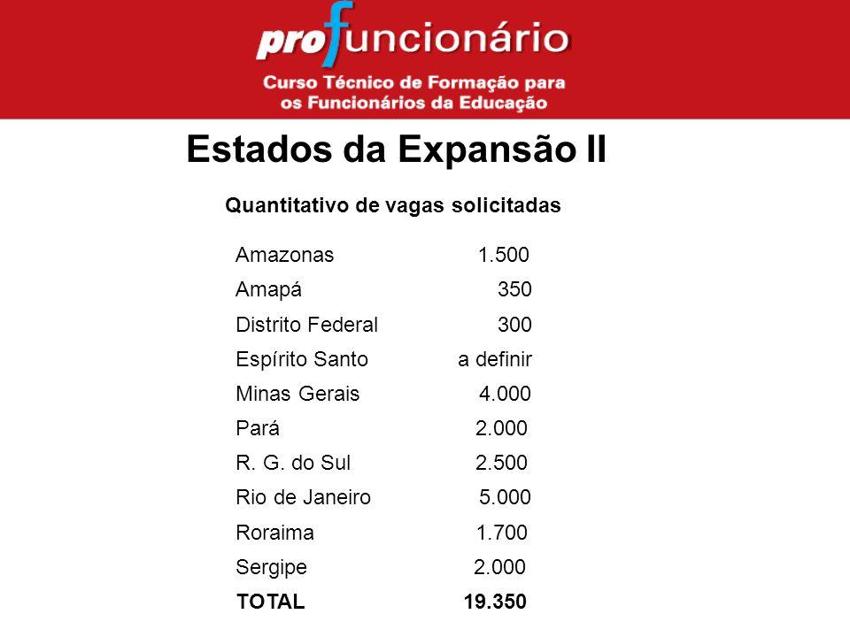 Estados da Expansão II Quantitativo de vagas solicitadas Amazonas 1.500 Amapá 350 Distrito Federal 300 Espírito Santo a definir Minas Gerais 4.000 Pará 2.000 R.