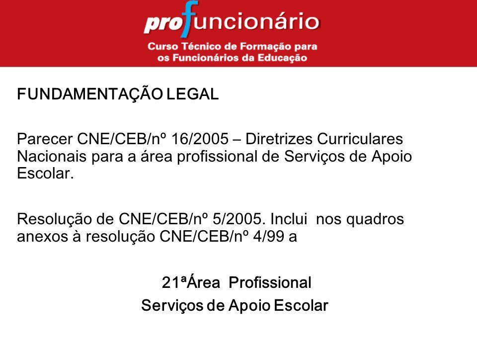 FUNDAMENTAÇÃO LEGAL Parecer CNE/CEB/nº 16/2005 – Diretrizes Curriculares Nacionais para a área profissional de Serviços de Apoio Escolar.