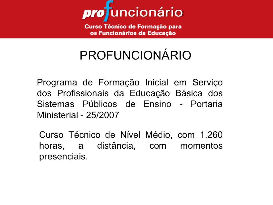 PROFUNCIONÁRIO Programa de Formação Inicial em Serviço dos Profissionais da Educação Básica dos Sistemas Públicos de Ensino - Portaria Ministerial - 25/2007 Curso Técnico de Nível Médio, com 1.260 horas, a distância, com momentos presenciais.