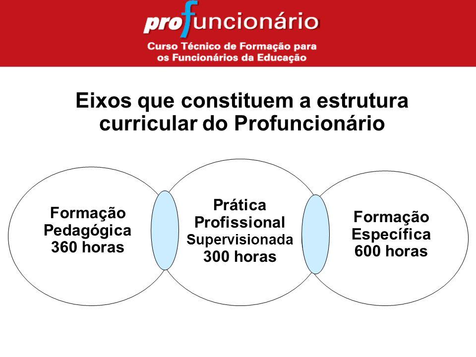 Formação Pedagógica 360 horas Prática Profissional Supervisionada 300 horas Formação Específica 600 horas Eixos que constituem a estrutura curricular do Profuncionário