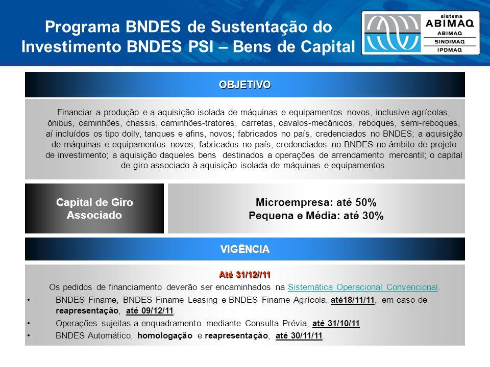 Quadro Comparativo Itens Financiáveis AtualA partir de 01/04/2011 Taxa Participação Máxima (1)(3) OrçamentoTaxa Participação Máxima (2)(3) Acréscimo no Orçamento Ônibus Híbridos e Elétricos 8% MPME: 100% MG e GE: 80% (+20%) R$ 38,3 bilhões ESGOTADO 5% 90% R$ 1 bilhão Ônibus Padrão BRT 10%R$ 20 bilhões Demais Ônibus e Caminhões MPME: 80% (+10%) MG e GE: 70% (+20%) Demais Bens de Capital (MPME) 5,5% 100% R$ 62,4 bilhões ESGOTADO 6,5%90%R$ 12 bilhões Demais Bens de Capital (MG e GE)80% (+20%)8,7%70% (+20%)R$ 24 bilhões Bens de Informática e Automação com Tecnologia Nacional 100%5%100%R$ 1 bilhão (1) Participação Máxima no BNDES Finame Leasing é de 80%, sem possibilidade de aumento de participação (2) Participação Máxima no BNDES Finame Leasing será de 70%, sem possibilidade de aumento de participação (3) A participação no financiamento à aquisição de aeronaves executivas e comerciais não poderá ser superior a 85% BNDES PSI 2 BNDES PSI 3
