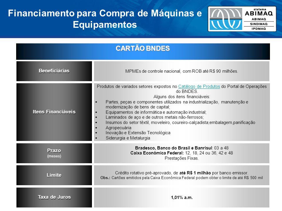 CARTÃO BNDES Beneficiárias MPMEs de controle nacional, com ROB até R$ 90 milhões. Itens Financiáveis Produtos de variados setores expostos no Catálogo