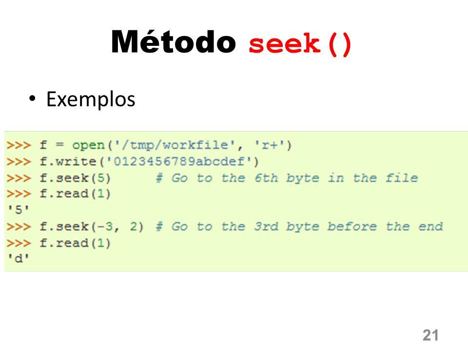 Método seek() Exemplos 21