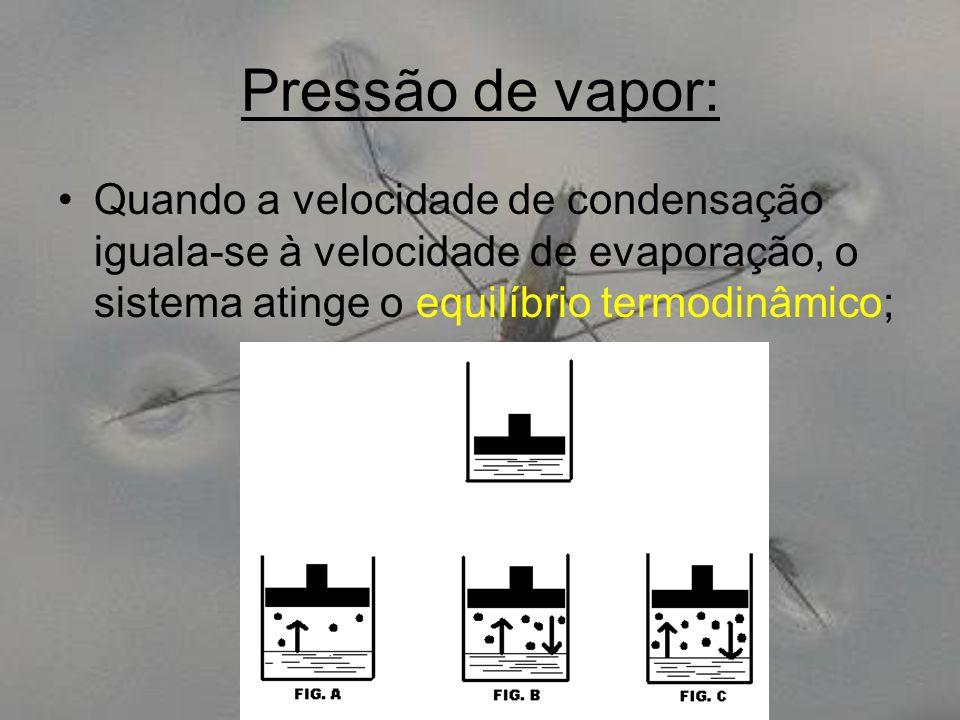 Pressão de vapor: Quando a velocidade de condensação iguala-se à velocidade de evaporação, o sistema atinge o equilíbrio termodinâmico;