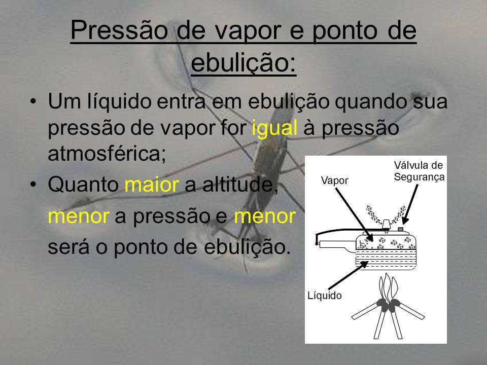 Pressão de vapor e ponto de ebulição: Um líquido entra em ebulição quando sua pressão de vapor for igual à pressão atmosférica; Quanto maior a altitud