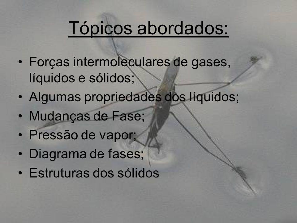 Tópicos abordados: Forças intermoleculares de gases, líquidos e sólidos; Algumas propriedades dos líquidos; Mudanças de Fase; Pressão de vapor; Diagra