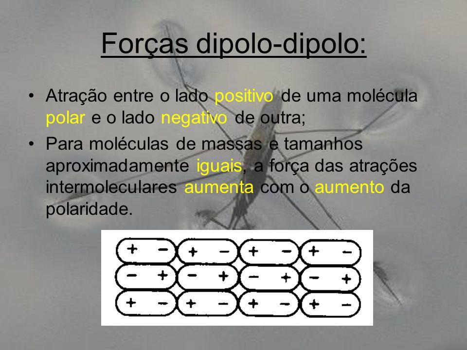 Forças dipolo-dipolo: Atração entre o lado positivo de uma molécula polar e o lado negativo de outra; Para moléculas de massas e tamanhos aproximadame