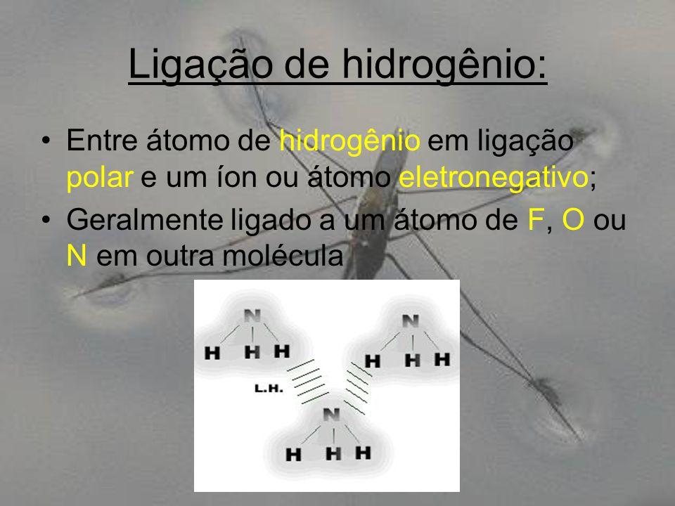 Ligação de hidrogênio: Entre átomo de hidrogênio em ligação polar e um íon ou átomo eletronegativo; Geralmente ligado a um átomo de F, O ou N em outra