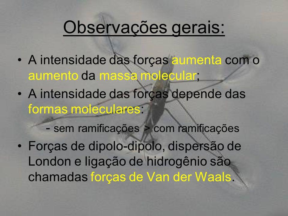 Observações gerais: A intensidade das forças aumenta com o aumento da massa molecular; A intensidade das forças depende das formas moleculares: - sem