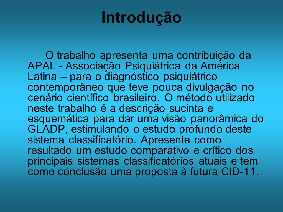 Introdução O trabalho apresenta uma contribuição da APAL - Associação Psiquiátrica da América Latina – para o diagnóstico psiquiátrico contemporâneo que teve pouca divulgação no cenário científico brasileiro.