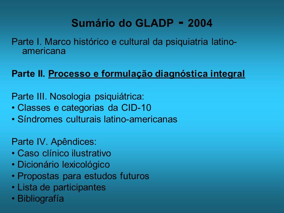 Sumário do GLADP - 2004 Parte I. Marco histórico e cultural da psiquiatria latino- americana Parte II. Processo e formulação diagnóstica integral Part