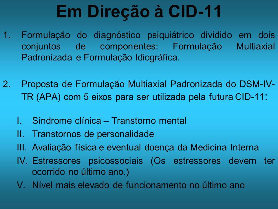 Em Direção à CID-11 1.Formulação do diagnóstico psiquiátrico dividido em dois conjuntos de componentes: Formulação Multiaxial Padronizada e Formulação Idiográfica.